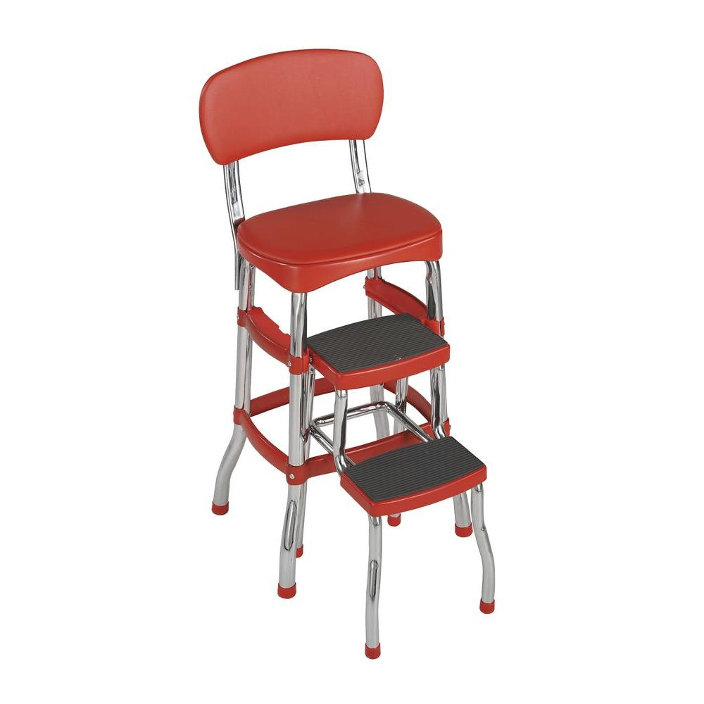 Stool Chair Cosco 3 Ft Aluminum 2 Step Stool 225 Lb With Load Capacity In Red