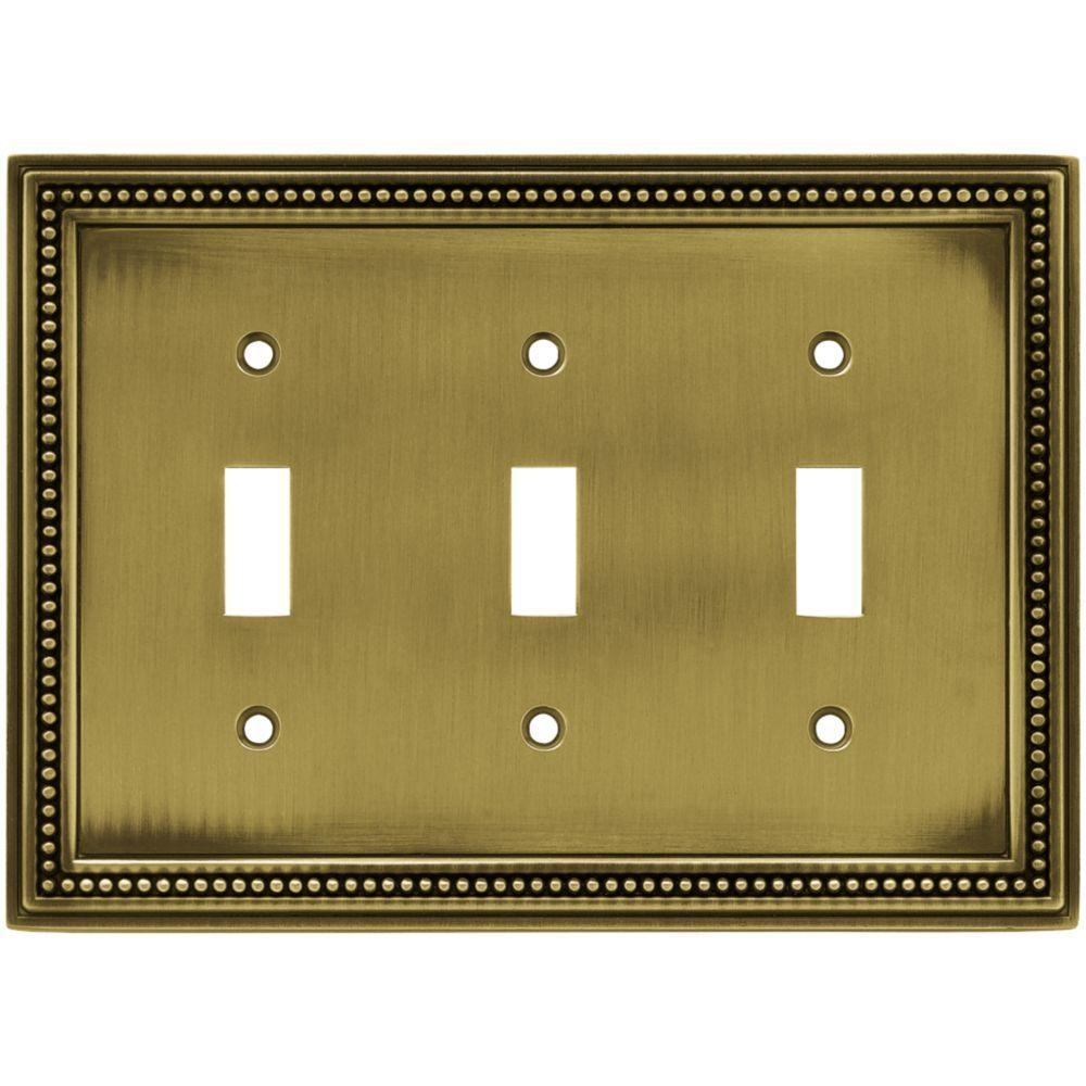 Vintage Light Switch Plate Covers Beaded Decorative Triple Switch Plate Tumbled Antique Brass