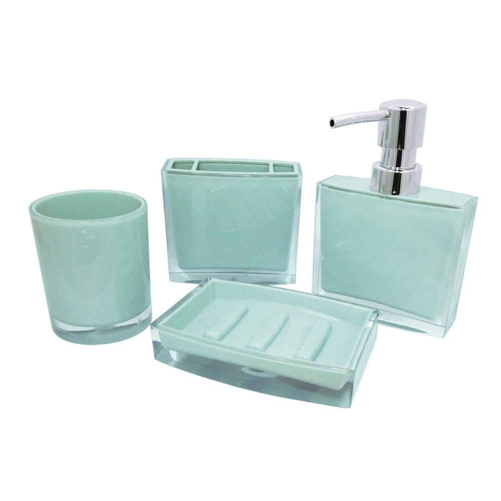 Bathroom Dispenser Set Kingston Brass Contemporary 4 Piece Bath Accessory Set In Azul Blue