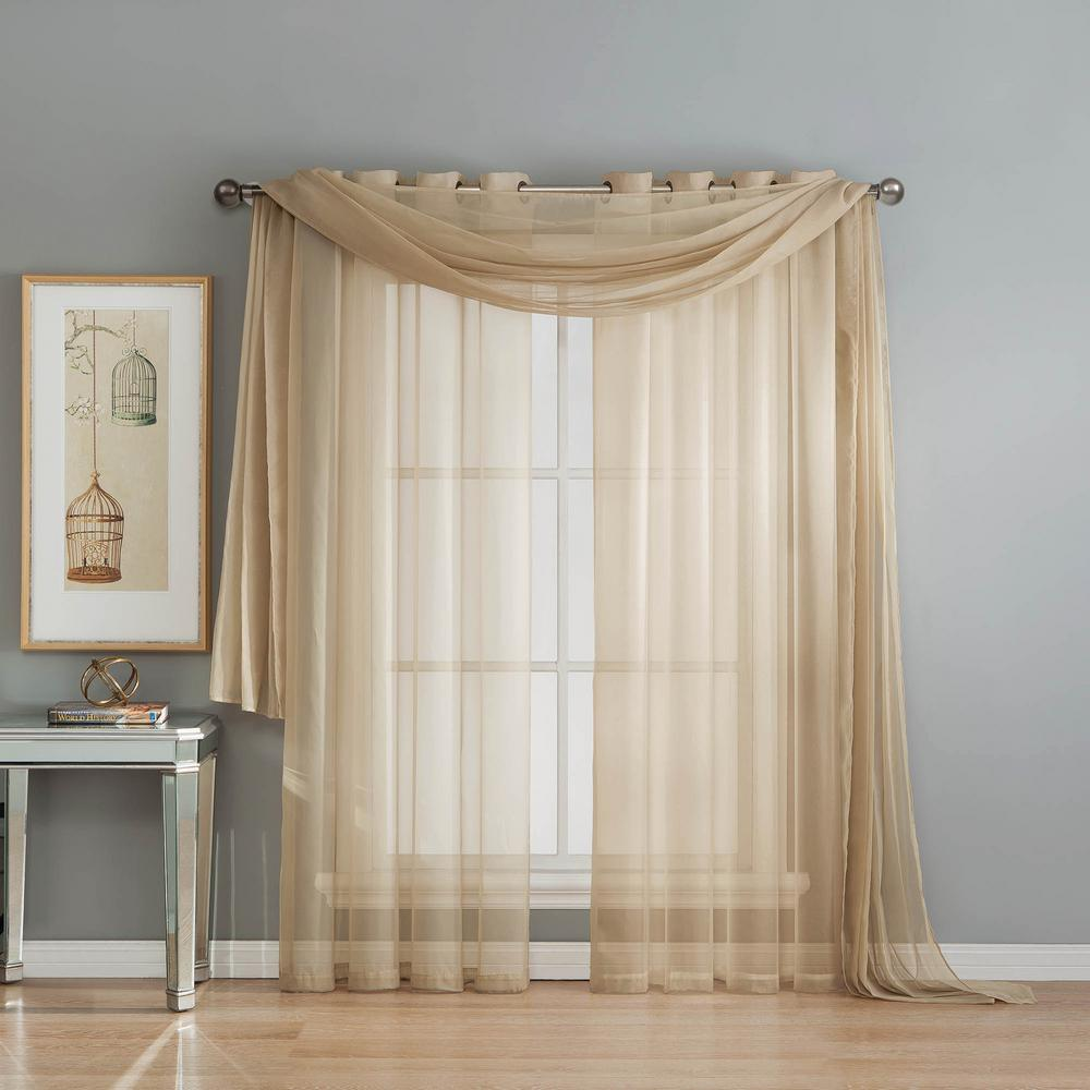 Draping Curtains Window Elements Solid Voile Sheer 216 In L Polyester Curtain Scarf In Linen