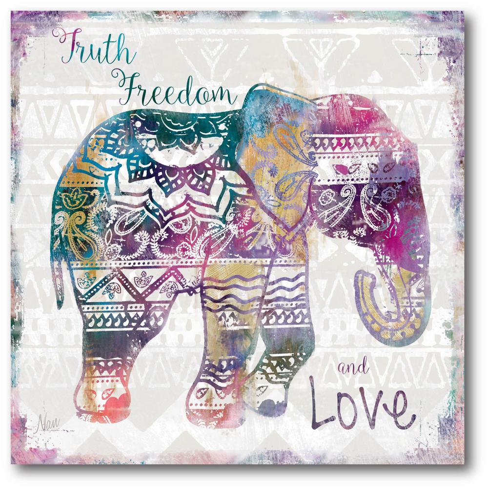 """16 in. x 16 in. """"Boho Elephant"""" Canvas Wall Art"""