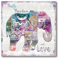 "16 in. x 16 in. ""Boho Elephant"" Canvas Wall Art"