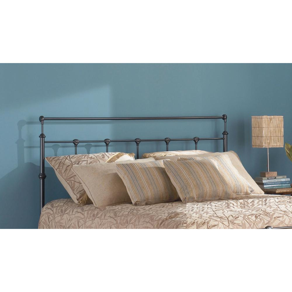 King Bed With Posts Winslow California King Size Metal Headboard With Rounded Posts And Aluminum Castings In Mahogany Gold