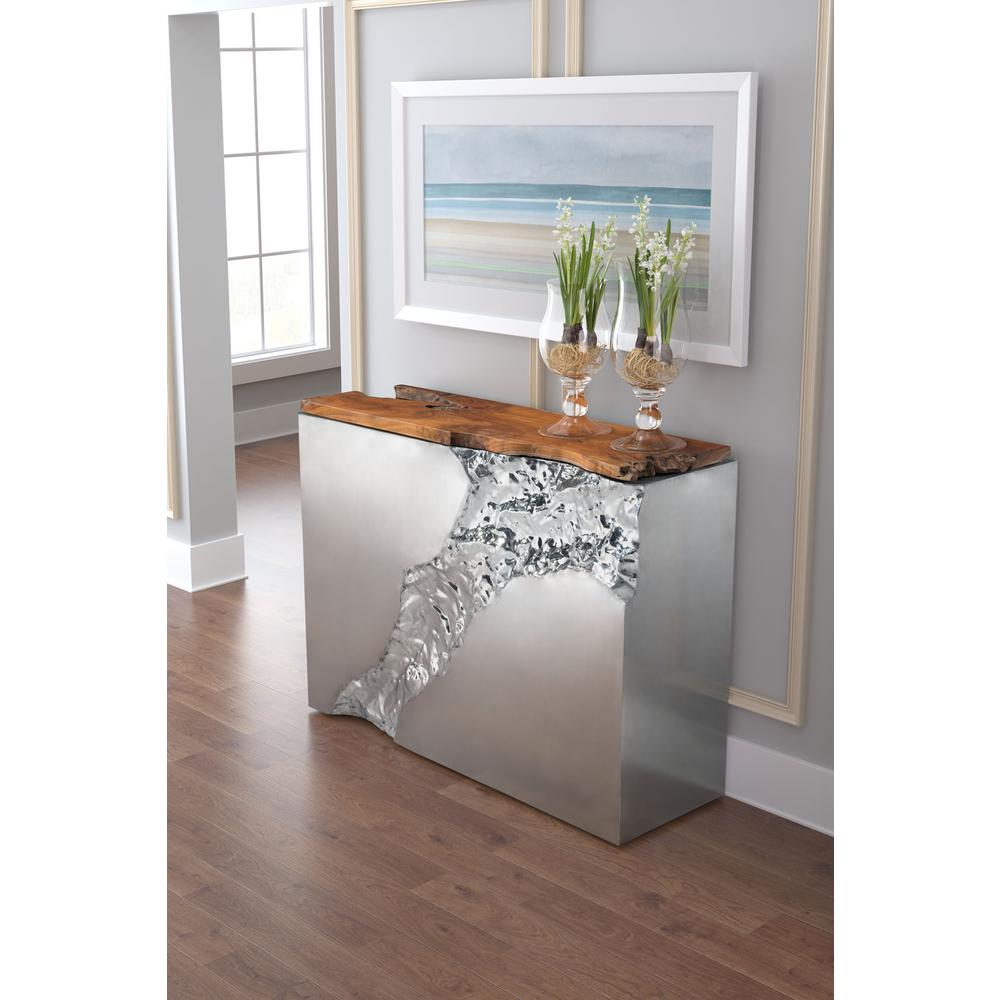 Table Luxe Zuo Luxe Natural And Stainless Steel Console Table 100525 The