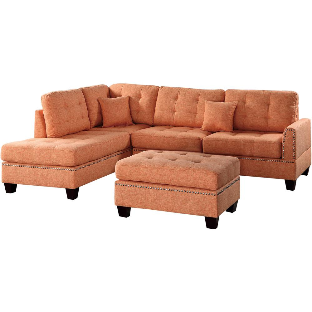Chaise Barcelona Venetian Worldwide Barcelona 3 Piece Sectional Sofa In Citrus With