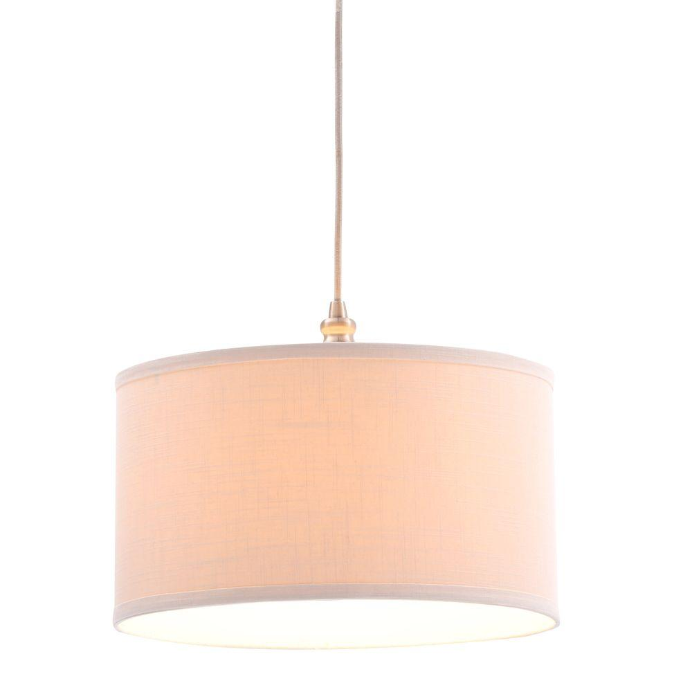 Plug In Hanging Lamps Hampton Bay Carroll 1 Light Brushed Nickel Pendant With Fabric Drum Shade