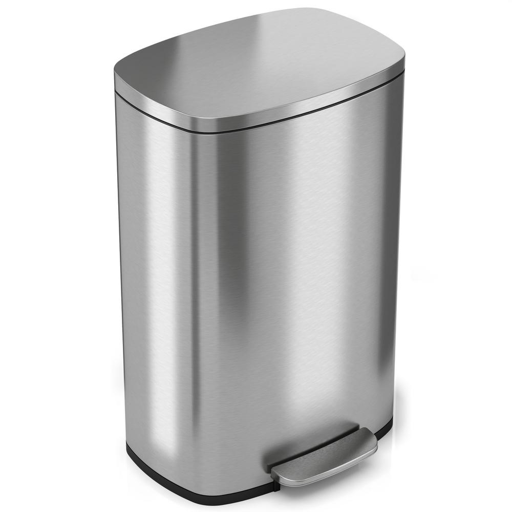 Cool Trash Bins Softstep 13 2 Gal Stainless Steel Step Trash Can With Odor Filter And Inner Bucket For Office And Kitchen