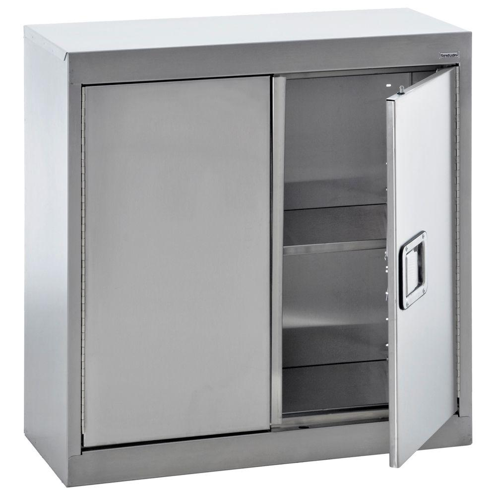 Metal Wall Cabinets Sandusky 30 In H X 30 In W X 12 In D Stainless Steel Wall Mounted Cabinet Storage