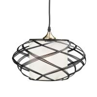 Sultano 1-Light Matte Black Wire Cage Pendant Lamp-HD88210 ...
