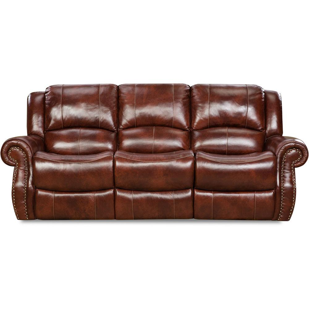 Brown Real Leather Couch Cambridge Oxblood Telluride Leather Double Reclining Sofa