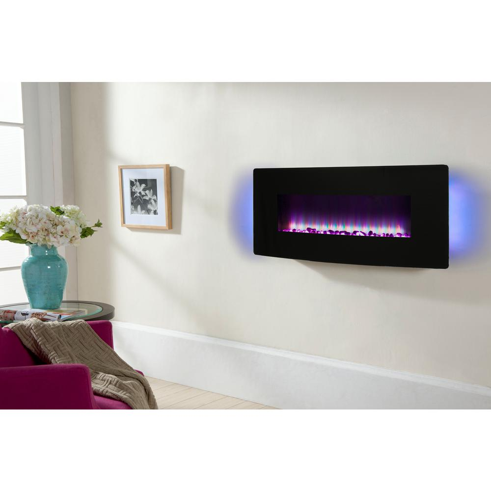 Wall Mount Fireplaces Muskoka 42 In Curved Front Wall Mount Electric Fireplace In Black