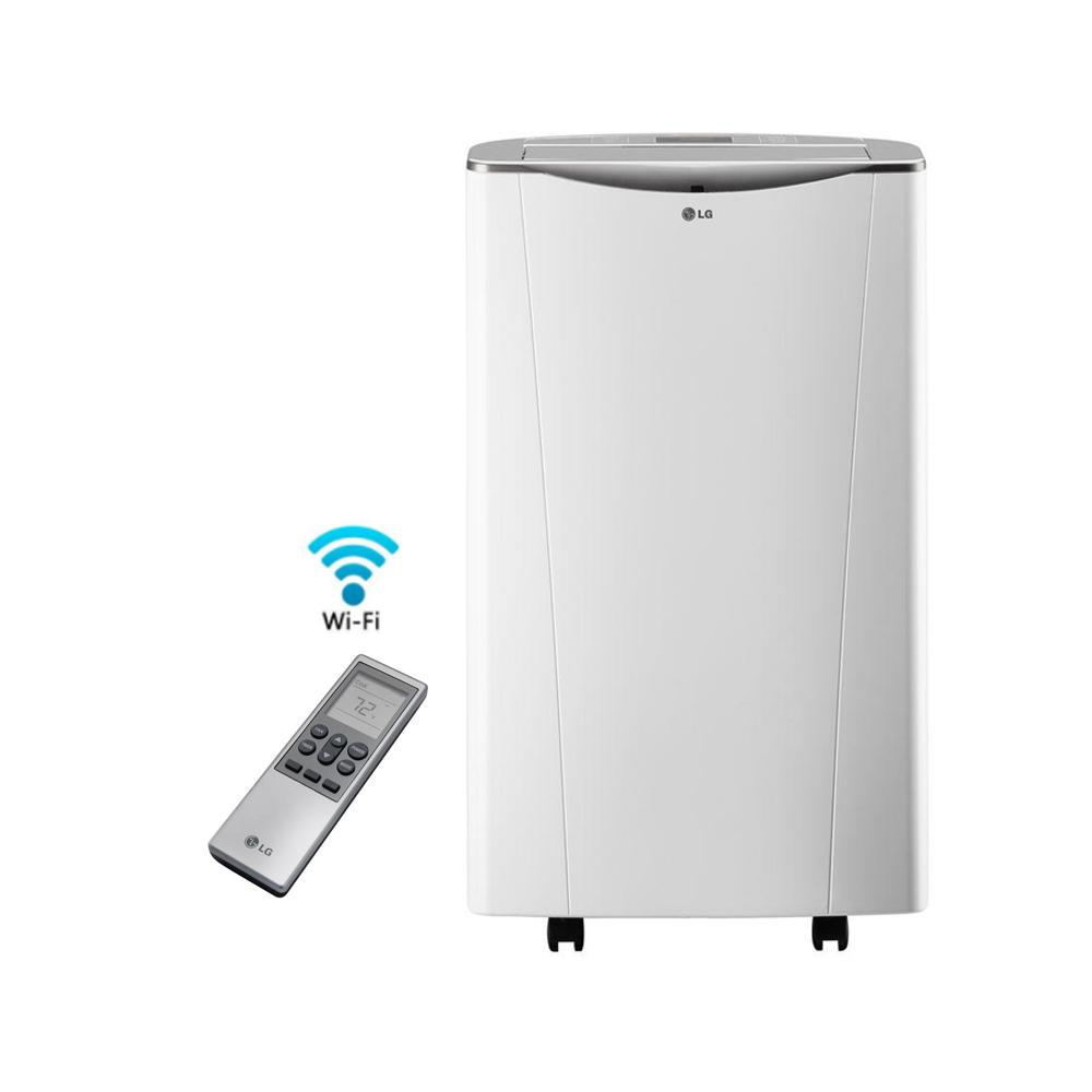 Portable Ac Home Depot Lg Electronics Smart 14 000 Btu Portable Air Conditioner And Dehumidifier Function W Wi Fi And Remote Control In White 81 6 Pt Day