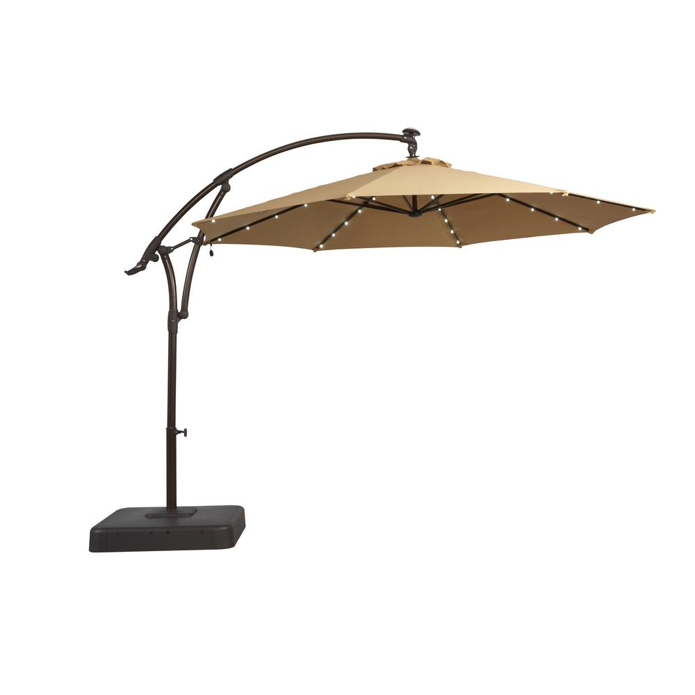 Hampton Bay 11 ft. Solar Offset Patio Umbrella in Cafe
