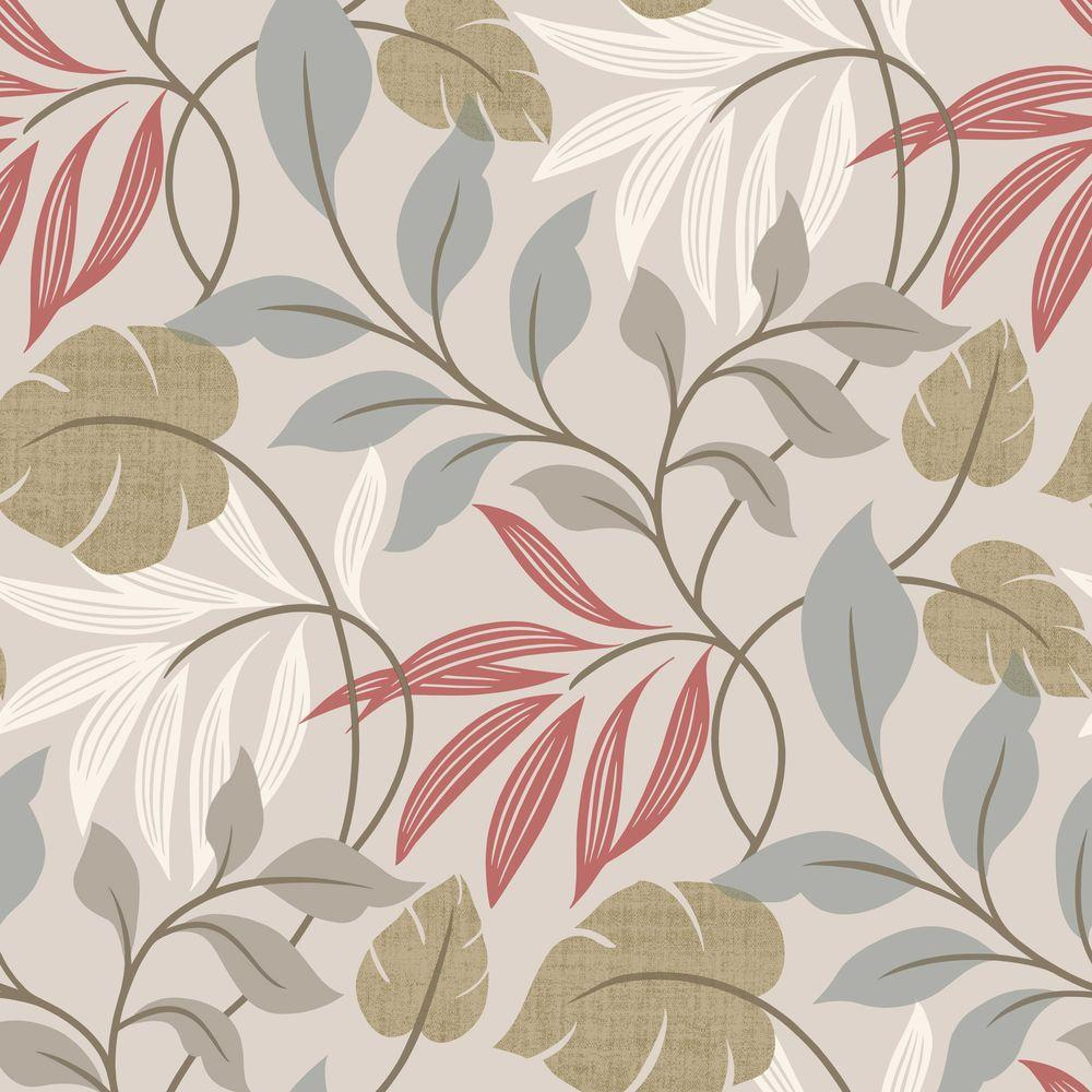 Chic Contemporary Modern Wallpaper Eden Grey Modern Leaf Trail Wallpaper