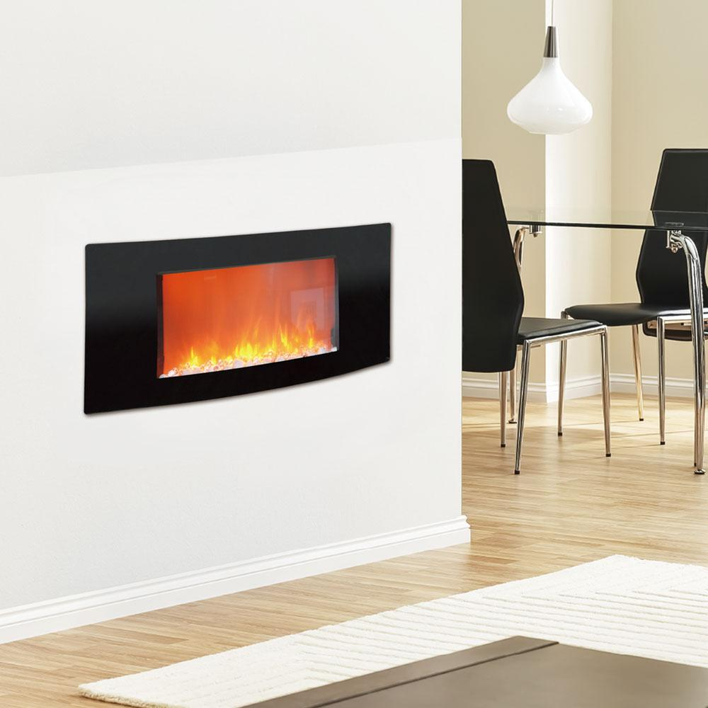 Curved Electric Fireplace Cambridge Callisto 35 In Wall Mount Electronic Fireplace With Curved Panel In Black
