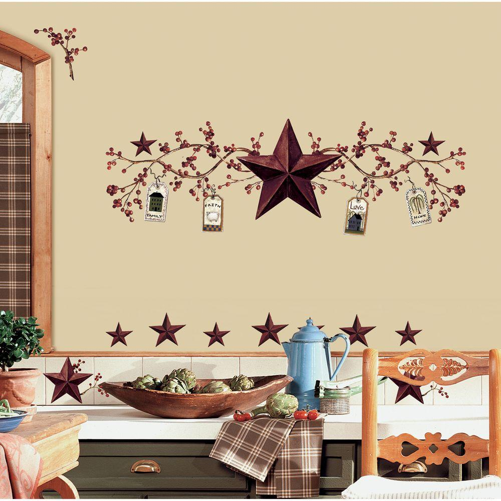 Stars Room Decor Roommates 18 In X 40 In Country Stars And Berries 40 Piece Peel
