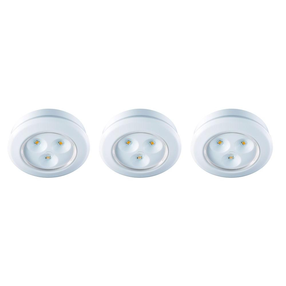 Led White Commercial Electric 2 99 In Led White Battery Operated Puck Light 3 Pack