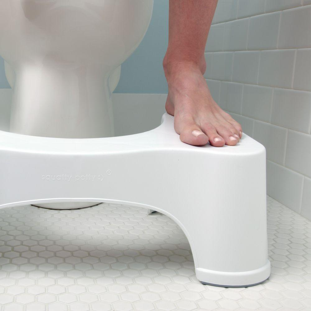 Squatty Potty 9 In Ecco Plastic Toilet Stool In White Sp E 9 The Home Depot - Potty Toilet