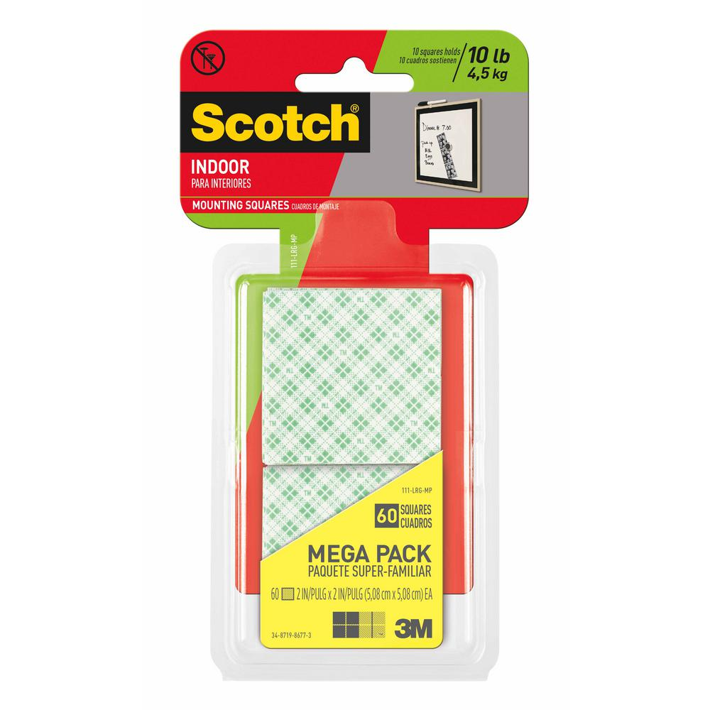 3m Vhb Tape Canada 3m Scotch 2 In X 2 In Permanent Double Sided Indoor Mounting Squares Megapack 60 Pack