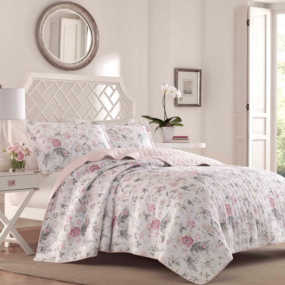 Quilt Sets Breezy Floral 3 Piece Grey King Quilt Set