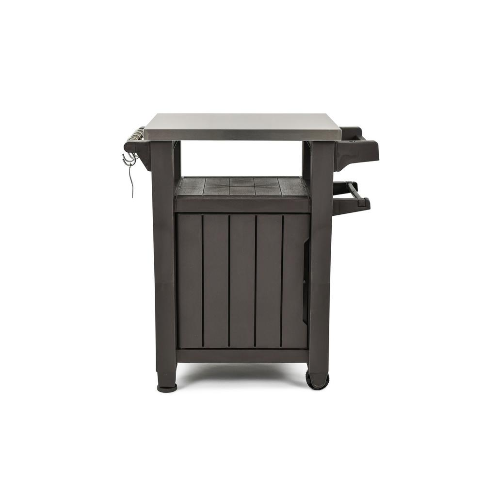 Outdoor Furniture Ringwood Keter Unity 40 Gal Grill Serving Prep Station Cart With Patio Storage
