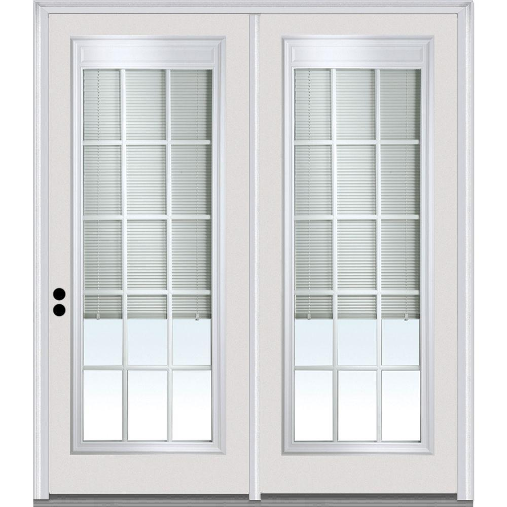 E Screen Blinds Mmi Door 72 In X 80 In Clear Glass Internal Blinds Grilles Primed Fiberglass Prehung Right Hand Full Lite Stationary Patio Door