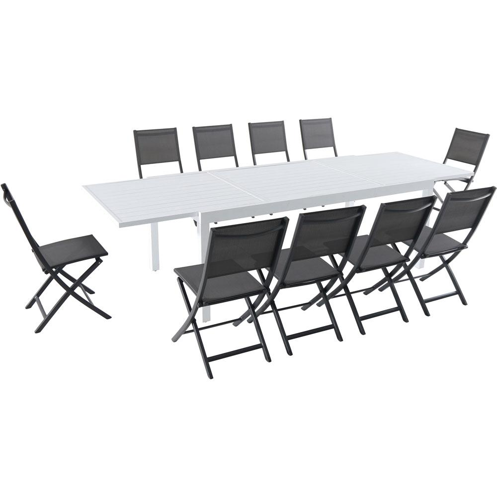 10 Seat Dining Table Set Hanover Del Mar 11 Piece Aluminum Outdoor Dining Set With 10 Folding Chairs In Gray And A White Expandable Dining Table