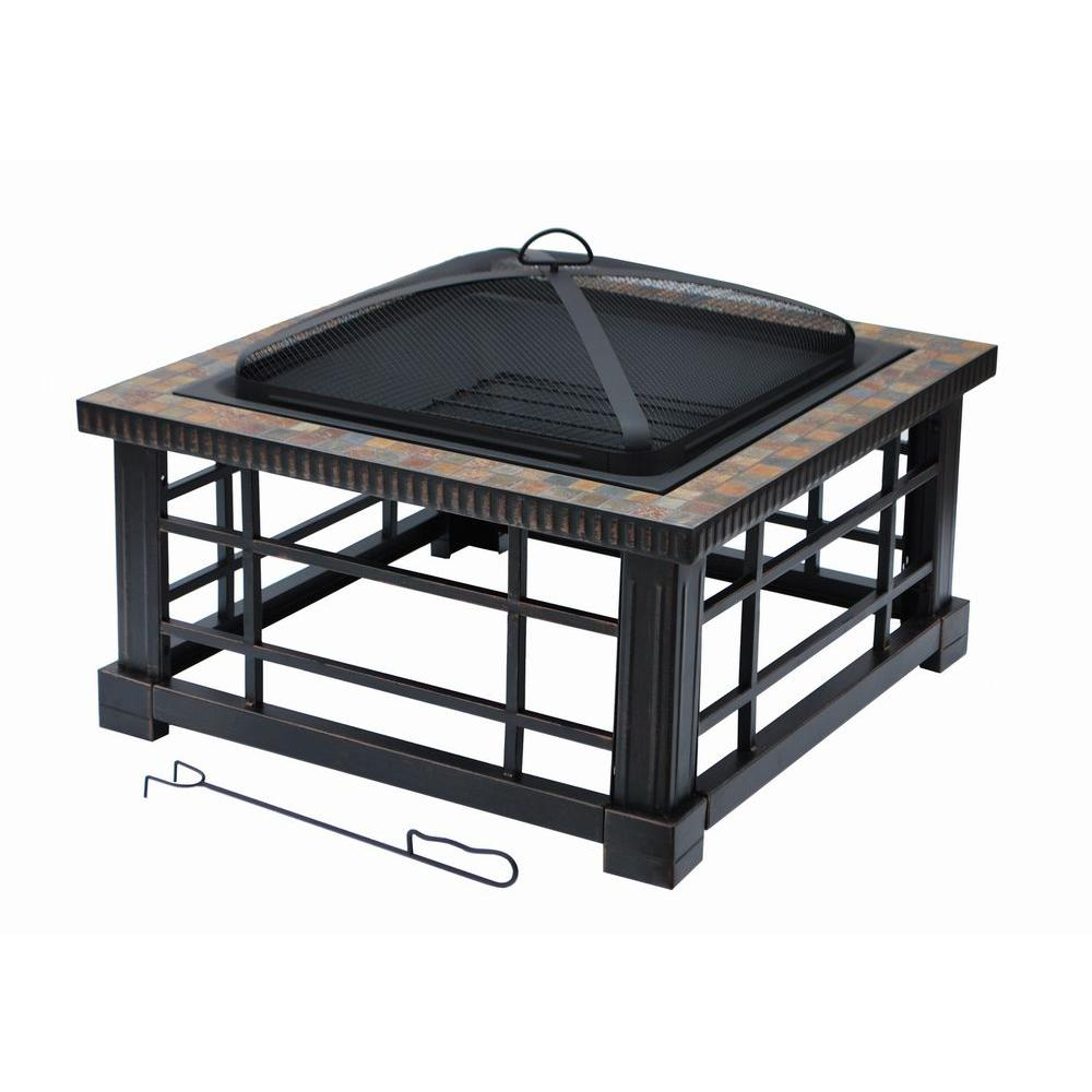 Home Depot Fire Pit Hampton Bay Woodspire 30 In Square Slate Steel Fire Pit