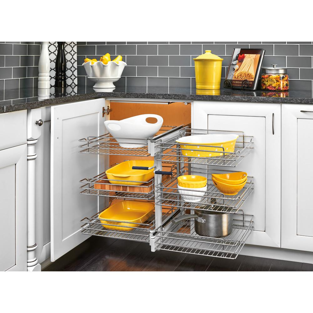Kitchen Cabinets With Pull Out Shelves Rev A Shelf 15 In Corner Cabinet Pull Out Chrome 3 Tier Wire Basket Organizer With Soft Close Slides