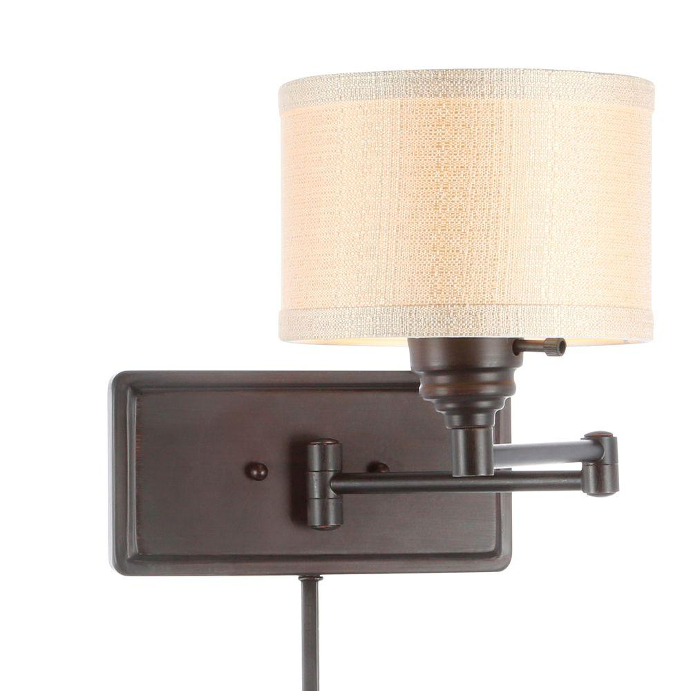 Swing Wall Lamp Hampton Bay Brookhaven 1 Light Bronze Swing Arm Sconce With Fabric Shade And 6 Ft Cord