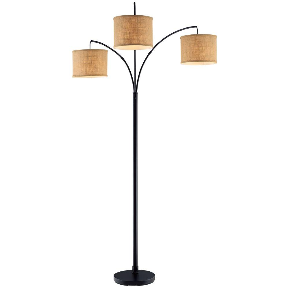 Small Arc Floor Lamp Hampton Bay 80 In Antique Bronze 3 Arc Floor Lamp With Burlap Drum Shades