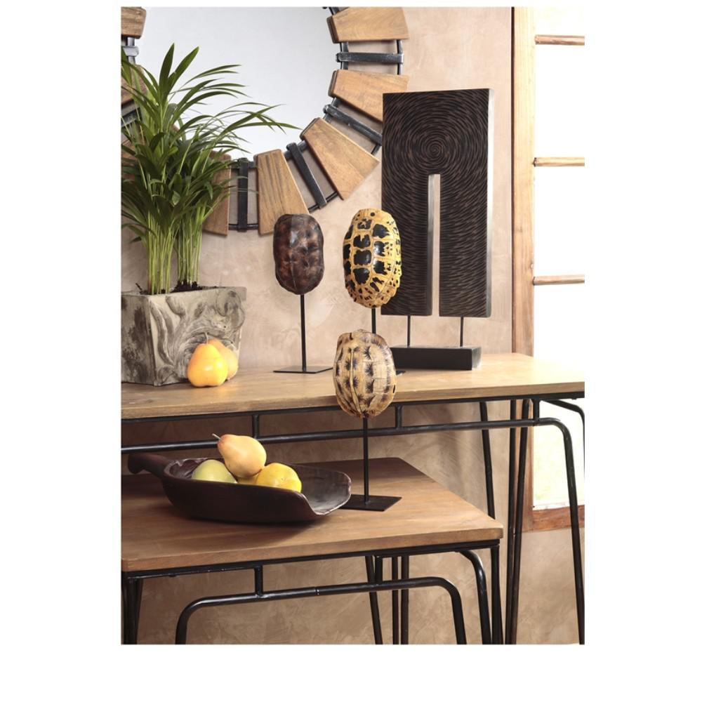 Decorative Mirror Table Brown Contemporary Style Wood Mirror With Metal Accents