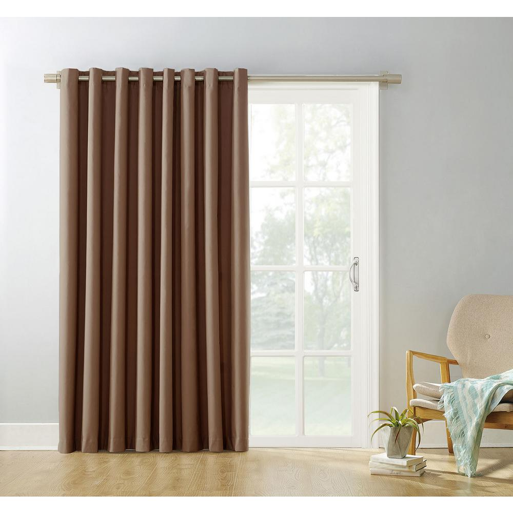 Curtains For Large Patio Doors Sun Zero Blackout Gavin 84 In L Extra Wide Blackout Patio Panel In Barley