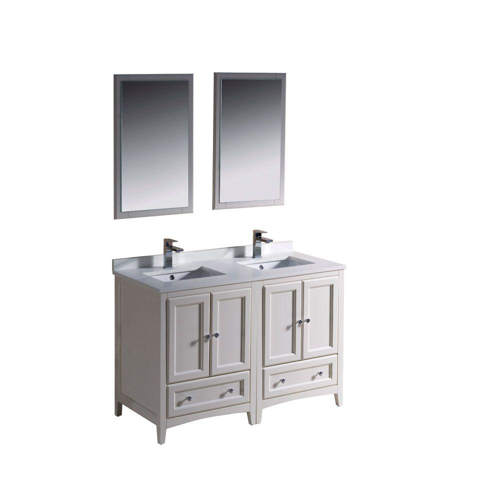 Double Sink Bathroom Vanity With Top Fresca Oxford 48 In Double Vanity In Antique White With Ceramic Vanity Top In White With White Basins And Mirror