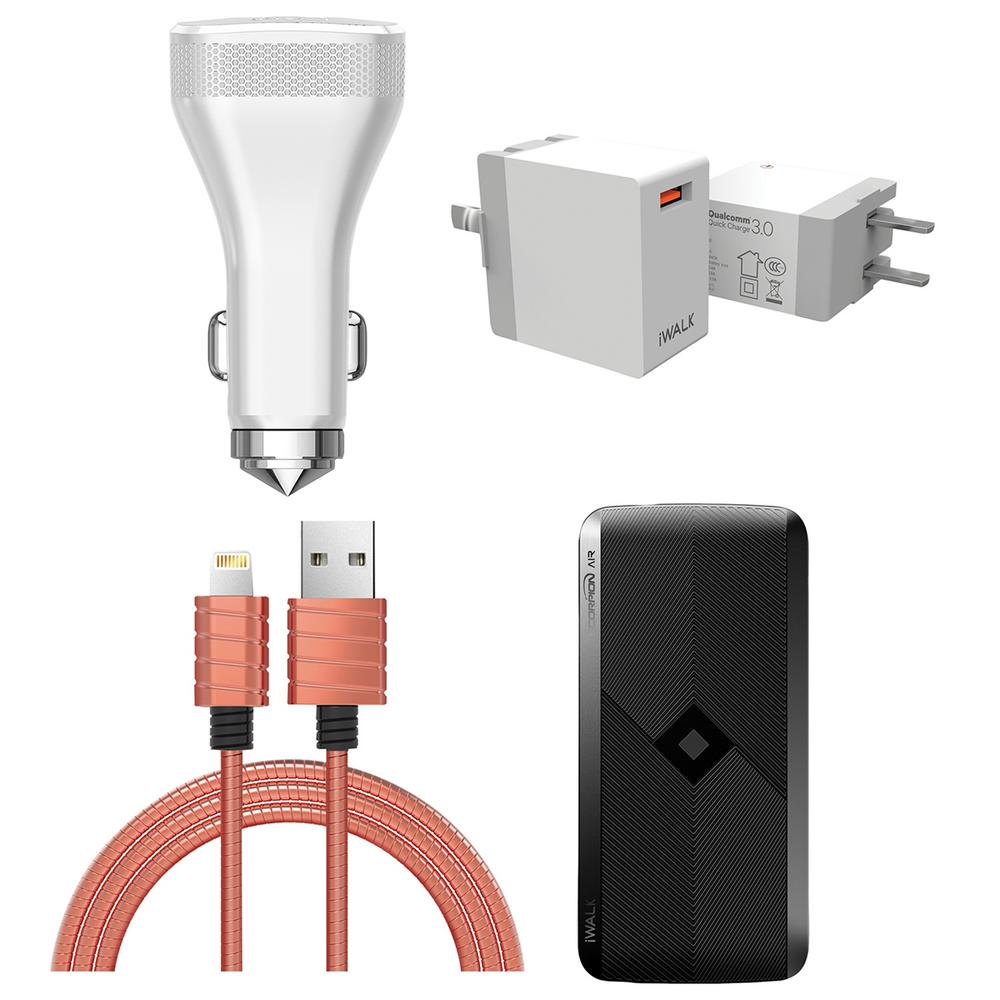Bank Home Depot Iwalk Power Bank Quick Charge 3 Usb Home Charger Quick Charge Car Charger And A Lightning To Usb Cable 4 Pack