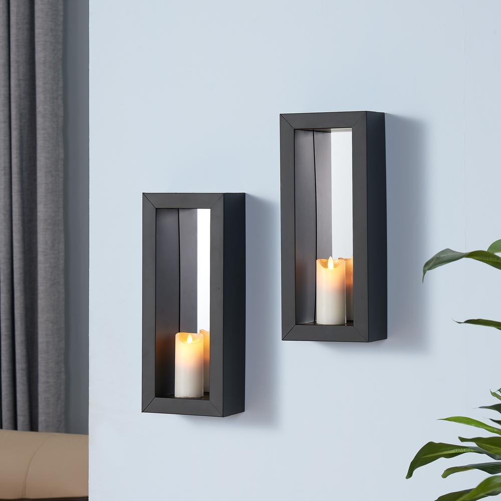 Lit Metal Black Metal Frame Pillar Wall Candle Sconces With Mirror Set Of 2