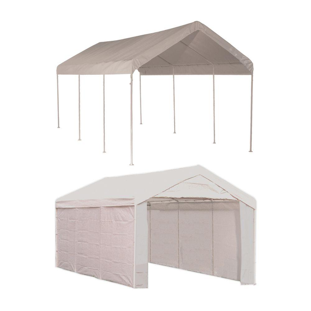 Portable Carport Costco Shelterlogic Max Ap 10 Ft X 20 Ft 2 In 1 White Canopy With Enclosure Kit