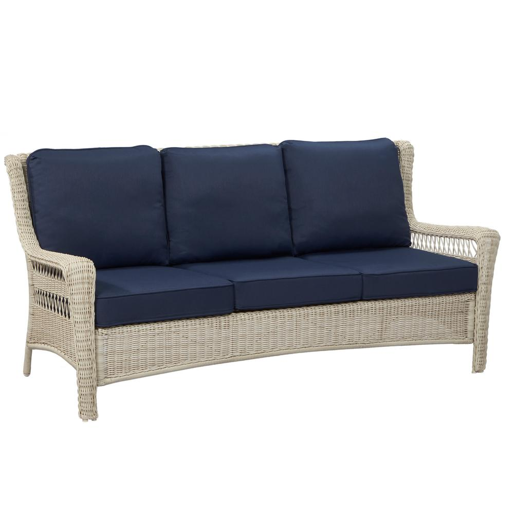 Outdoor Sofa Rattan Hampton Bay Park Meadows Off White Wicker Outdoor Sofa With Midnight Cushion