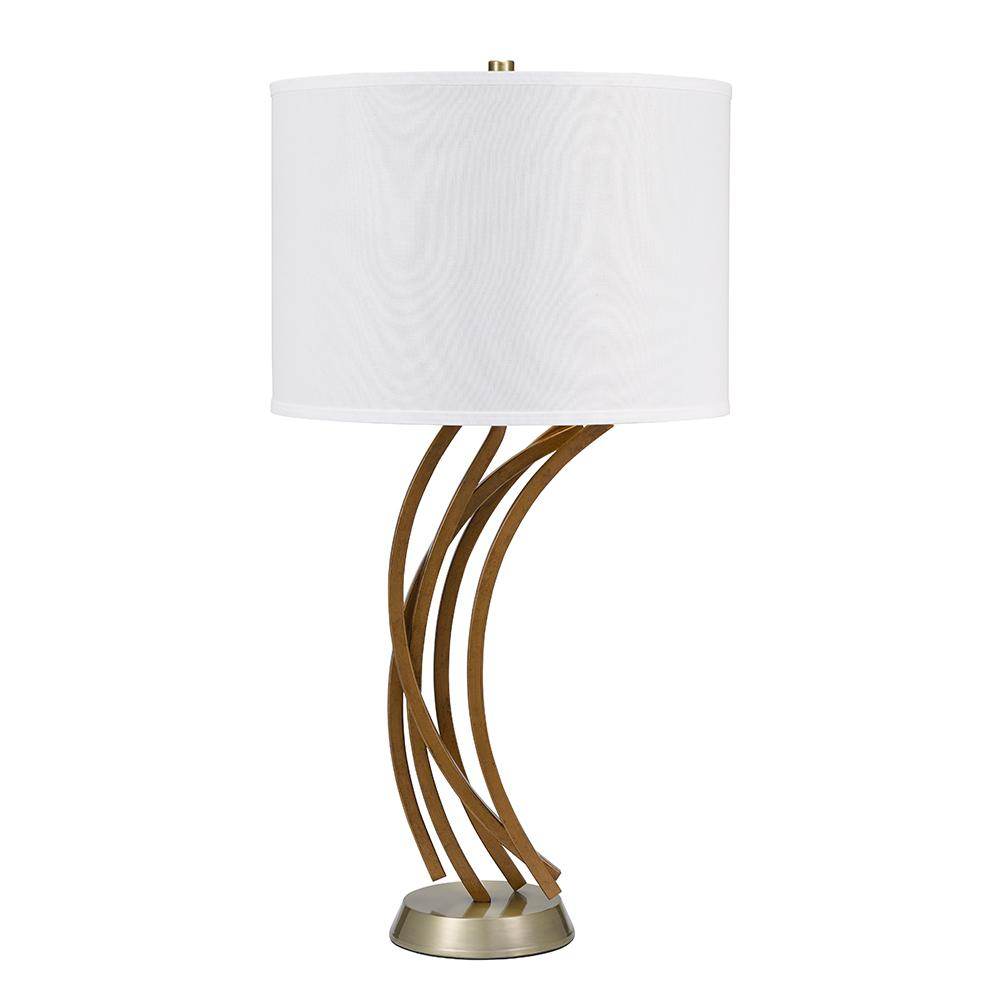 Coastal Lamps Cresswell 32 5 In Faux Driftwood With Brass Accents Coastal Table Lamp And Led Bulb