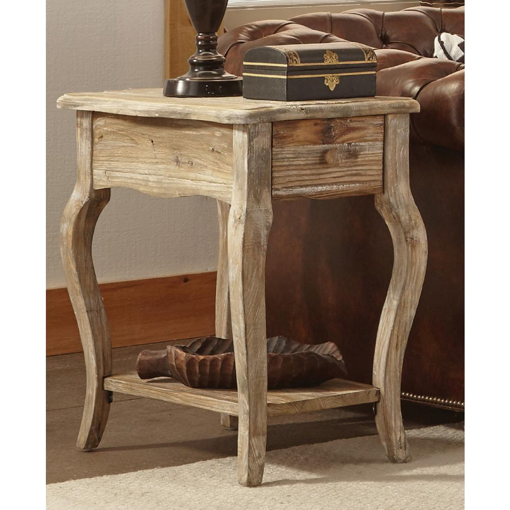 Rustic Wood End Table Rustic Driftwood Storage End Table