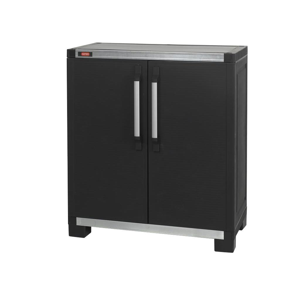 Garage Utility Cabinets Wide Xl 35 In X 39 In Freestanding Plastic Utility Base Cabinet In Black