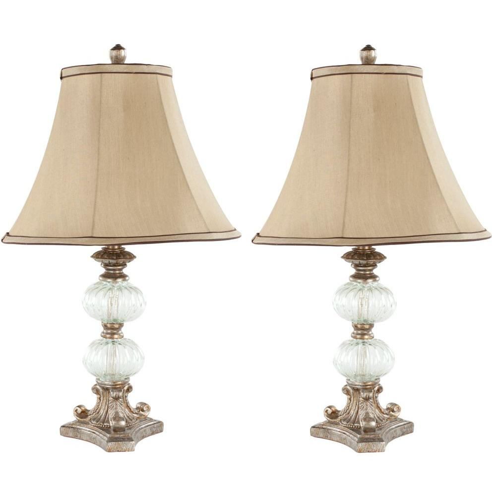 Glass Crackle Lamp Safavieh Scarlett 24 In Clear Glass Globe Table Lamp With Beige Shade Set Of 2