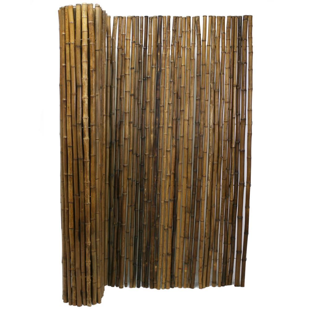 Backyard Fence Backyard X Scapes 6 Ft H X 8 Ft W X 1 In D Carbonized Natural Rolled Bamboo Fence Panel