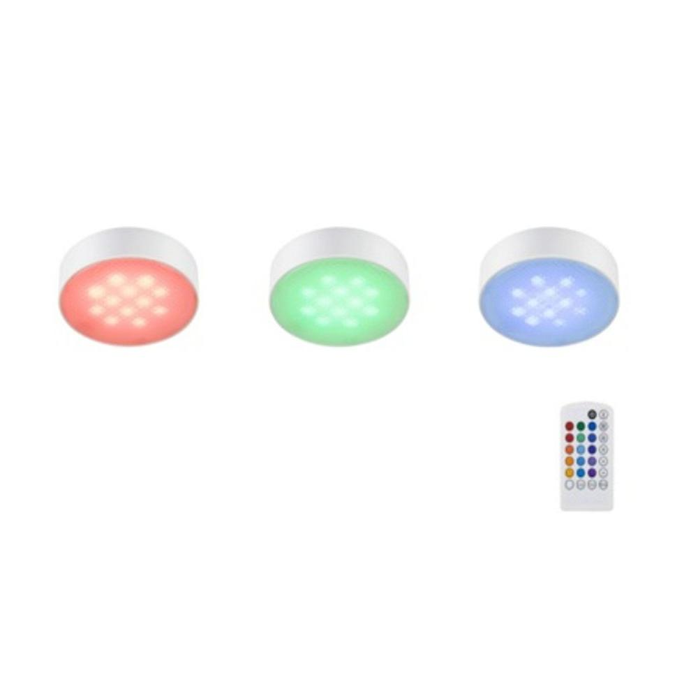 Led White 3 Light Led White Rgb Color Changing Puck Light Kit