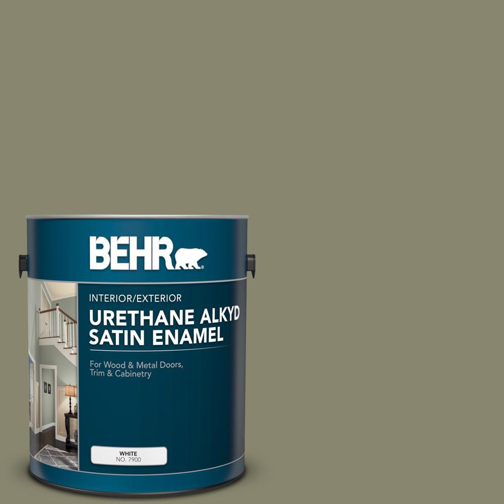 Bank St Home Depot Behr 1 Gal Ppu8 21 Mossy Bank Urethane Alkyd Satin Enamel Interior Exterior Paint
