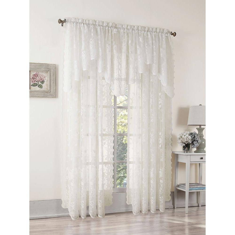 Traditional Curtains Lichtenberg Sheer Ivory Alison Lace Curtain Swag 58 In W X 32 In L