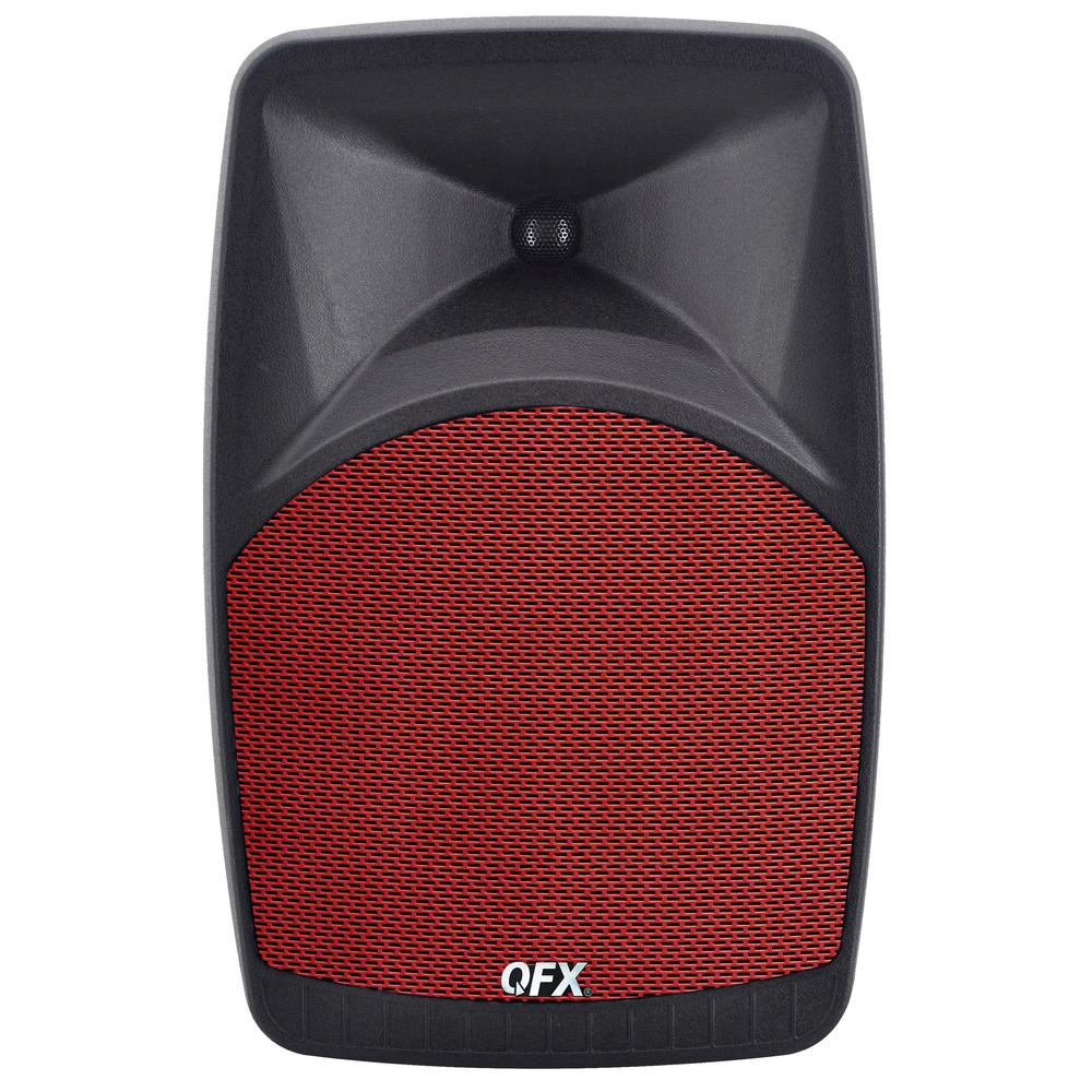 Bluetooth Box Qfx Pbx 38 Elite Series Portable Bluetooth Speaker With 8 In Woofer Fm Radio Microphone Input And Remote Control In Red