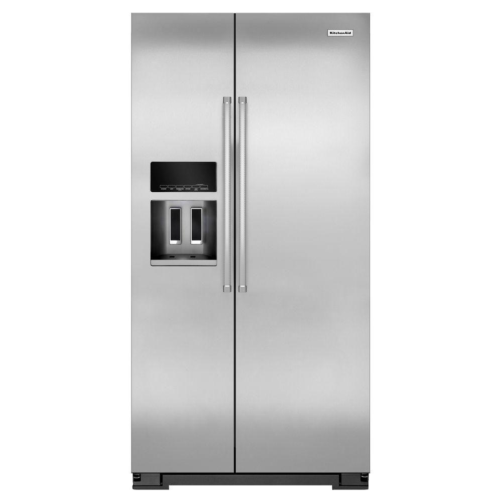 Kitchenaid Krfc300ess 22 7 Cu Ft Side By Side Refrigerator In Monochromatic Stainless Steel With Exterior Ice And Water Counter Depth