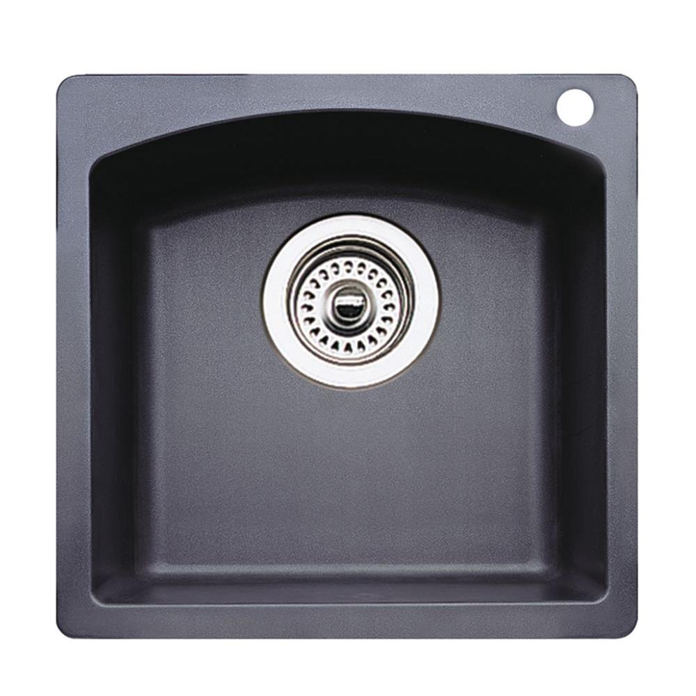 Blanco Sinks Canada Blanco Diamond Dual Mount Composite 15 In 1 Hole Single Bowl Bar Sink In Anthracite