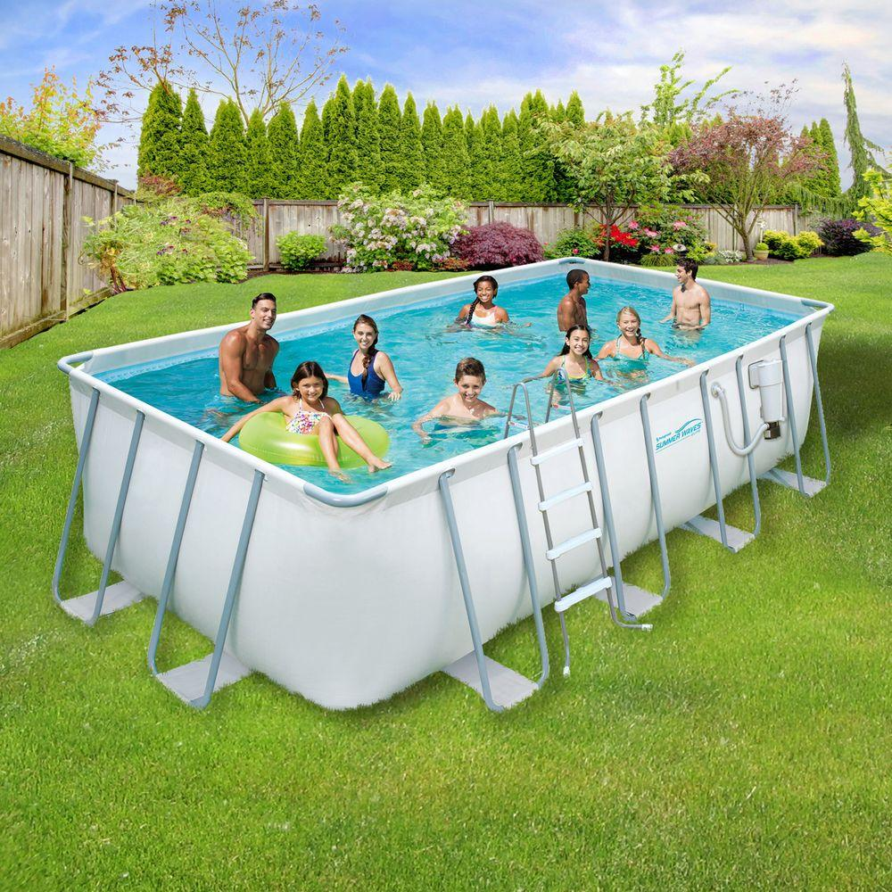 Pool Summer Waves Elite Proseries 9 Ft X 18 Ft Rectangular 52 In Deep Metal Frame Above Ground Pool